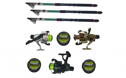 Set pescuit sportiv cu trei lansete 2.4