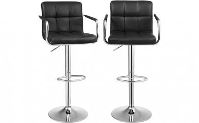 Set 2 scaune bar cu cotiera Piele