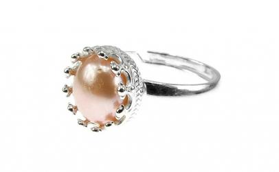 Inel argint reglabil coroana cu perla de
