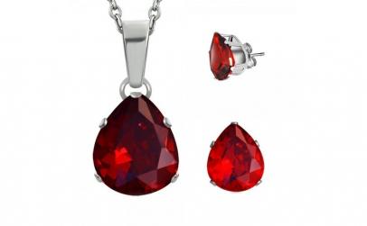 Set inox cu zirconii rosii in forma de