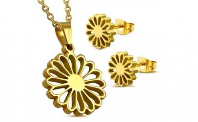 Set auriu din inox cu floricele