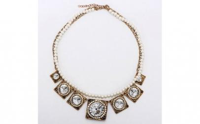 Colier metalic cu perle si aplicatii