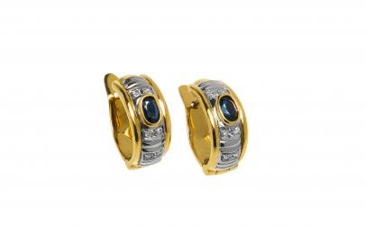 Cercei din aur 18K cu safire si diamante