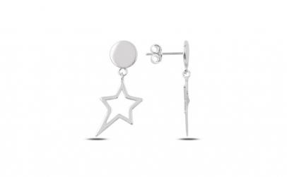 Cercei argint placat cu rodiu cu steluta
