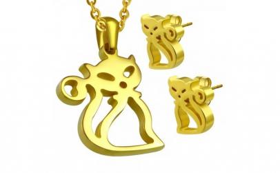 Set auriu din inox cu pisicute