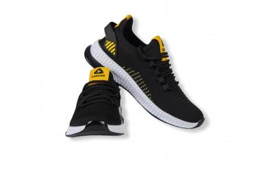 Sneakers Letoon negru-galben textil