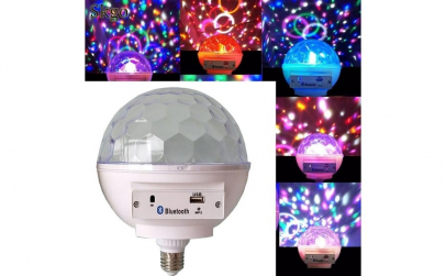 Bec disco luminos cu bluetooth