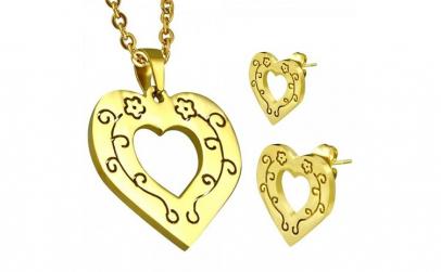 Set inox auriu inimioare cu floricele