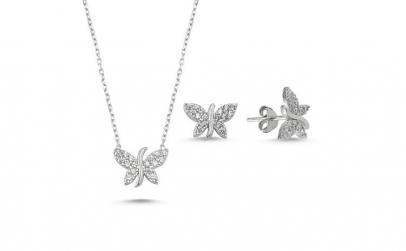 Set argint 925 rodiat cu fluturi si