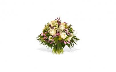 Buchet trandafiri albi si lisianthus