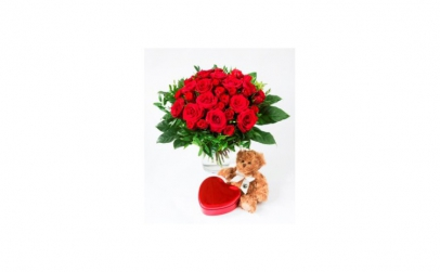 Buchet de trandafiri + ciocolata