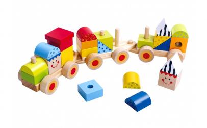 Tren de stivuit piese din lemn,Tooky Toy