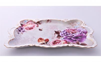 Tava ceramica,imprimeuri florale