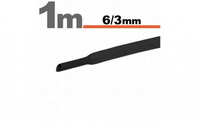 Tub termocontractibilNegru • 6 / 3 mm