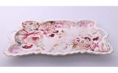 Tava ceramica, imprimeuri florale