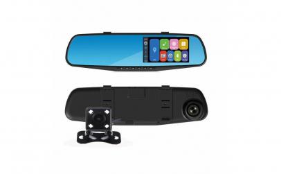Camera auto dubla in oglinda