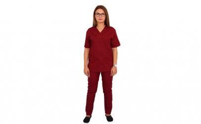 Costum medical visiniu, cu bluza cu
