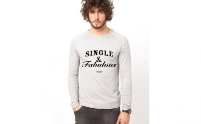 Bluza gri, barbati, Single & Fabulous