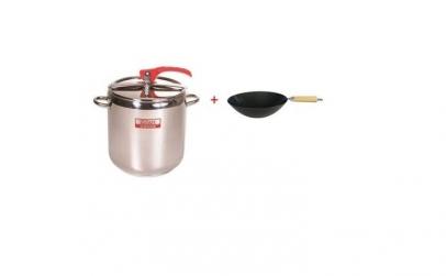 Oala sub presiune inox + wok