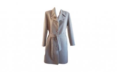 Palton dama lung din casmir cu brosa,