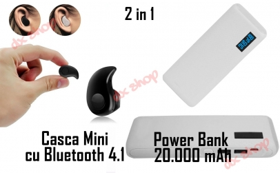 Baterie externa 20.000 mAh + Casca BT