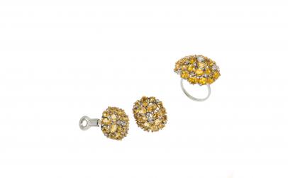 Set din aur alb 18K cu diamante