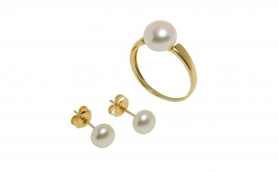 Set din aur galben 14K cu perla naturala