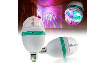 Bec color disco rotativ cu 3 LED-uri