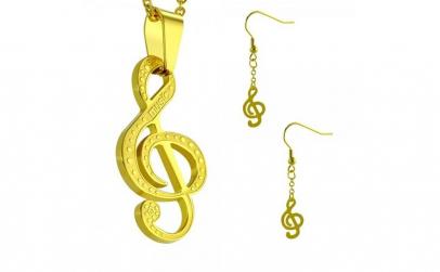 Set aurii inox cu note muzicale Music