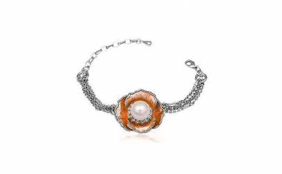 Bratara metal rodiat cu floare perla si
