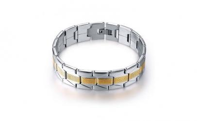 Bratara barbati Silver & Gold cu AU 18K