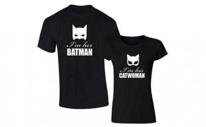Set de tricouri negre Batman/Catwoman