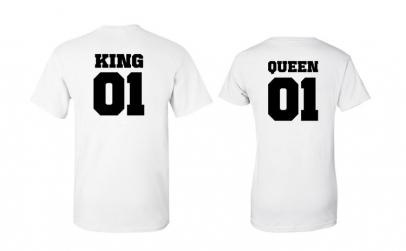 Set de tricouri albe KING/QUEEN 01
