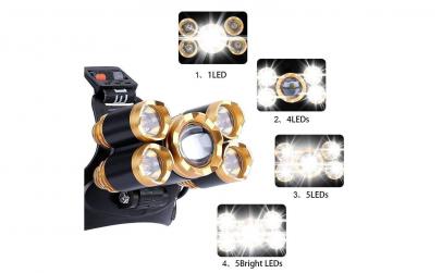 Lanterna de cap MRG 5 x Led ZOOM