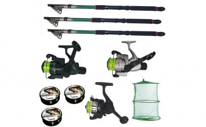 Set pescuit cu 3 lansete de 3,6m