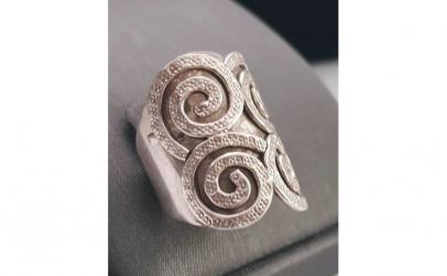 Inel din argint cu spirale