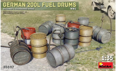 1:35 German 200L Fuel Drum Set WW2 1:35