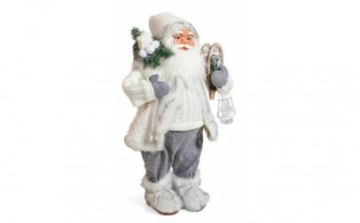 Figurina Mos Craciun realist, alb cu gri