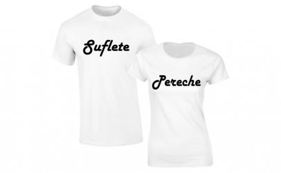 Set de tricouri albe Suflete Pereche