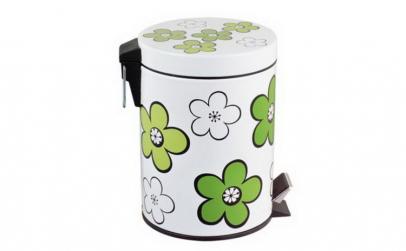 Cos gunoi cu pedala Flower 12L verde