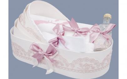 Trusou botez cu fundite si dantela roz