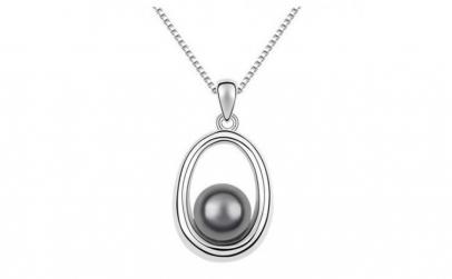Pandantiv argintiu cu perla gri
