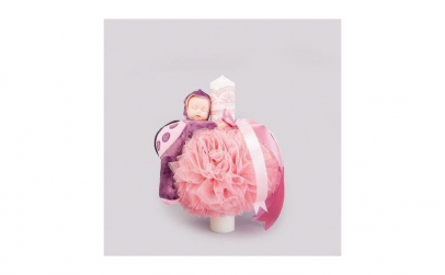 Lumanare botez roz prafuit figurina bebe