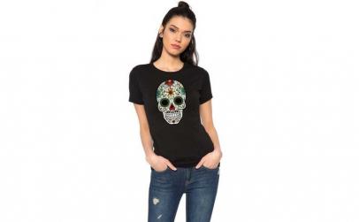 Tricou dama negru - Sugar Skull