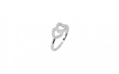 Inel Double Heart Argint 925 Placat cu