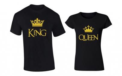 Set de tricouri negre King/Queen Gold