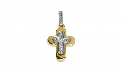 Crucifix din aur 18K cu diamante