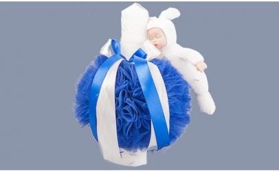 Lumanare botez decor tulle albastru
