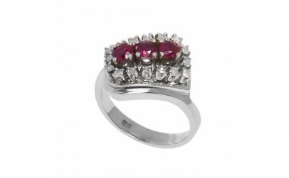 Inel din aur 14K cu rubine si diamante
