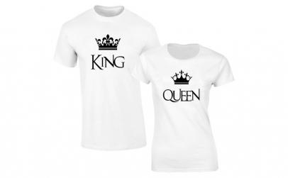 Set de tricouri albe King/Queen CROWN